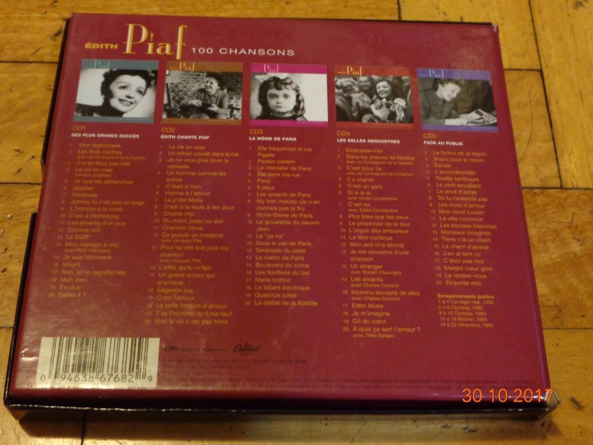 édith Piaf 100 Chansons Caja Con 5 Cds En Impecable Estado 162624