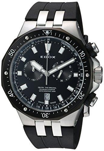 edox mens delfin quartz reloj de acero inoxidable y caucho w