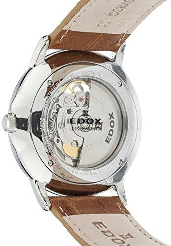 edox mens les bemonts reloj de pulsera de cuero y acero inox