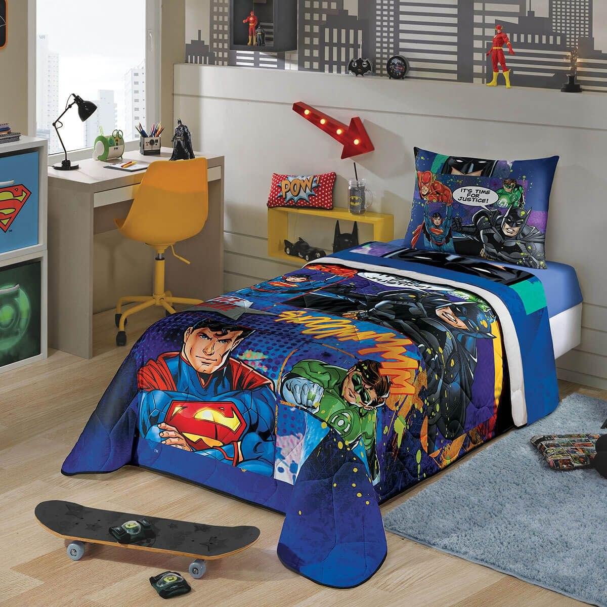 342ef1905f edredom infantil herois liga da justiça menino azul lepper. Carregando zoom.