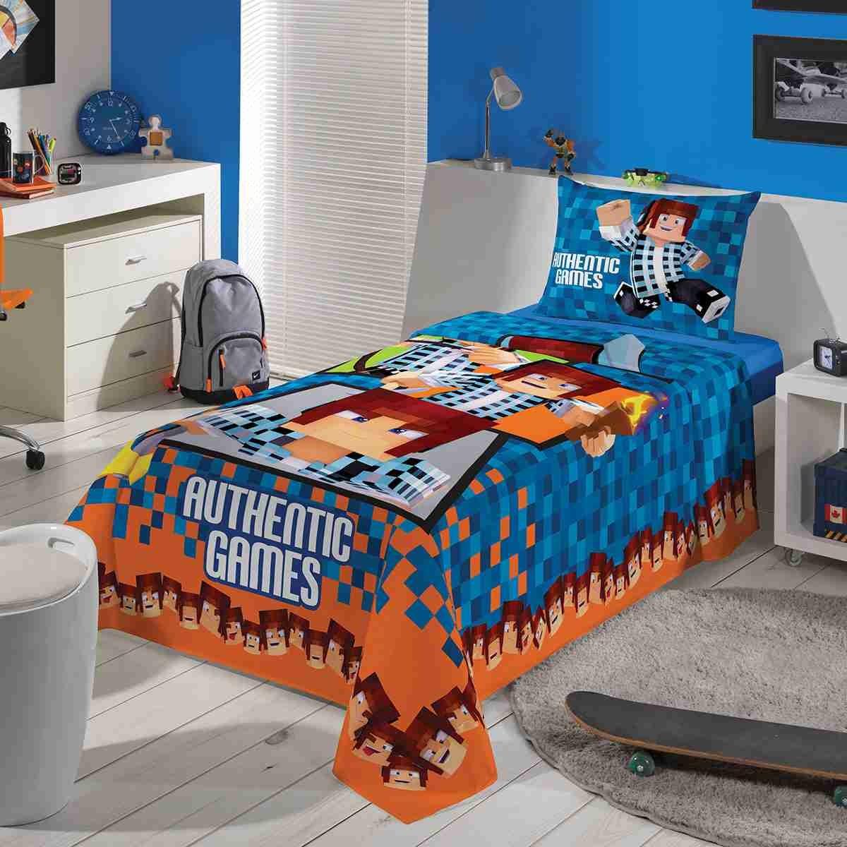 cffa3d0674 edredom+jogo cama 2pç+ toalha infantil tipo minecraft lepper. Carregando  zoom.