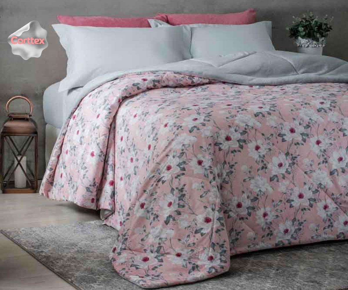 1392566419 edredom mirabelle floral rosa aveludado dupla face corttex. Carregando zoom.