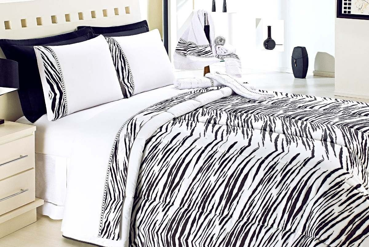 995a7dd800 Edredom Nuance Casal Queen Estampa De Zebra Branco preto - R  209