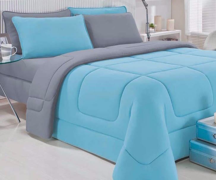 a05001973e Edredom Solteiro Dupla Face Malha 100%algodão Azul Cinza - R  105