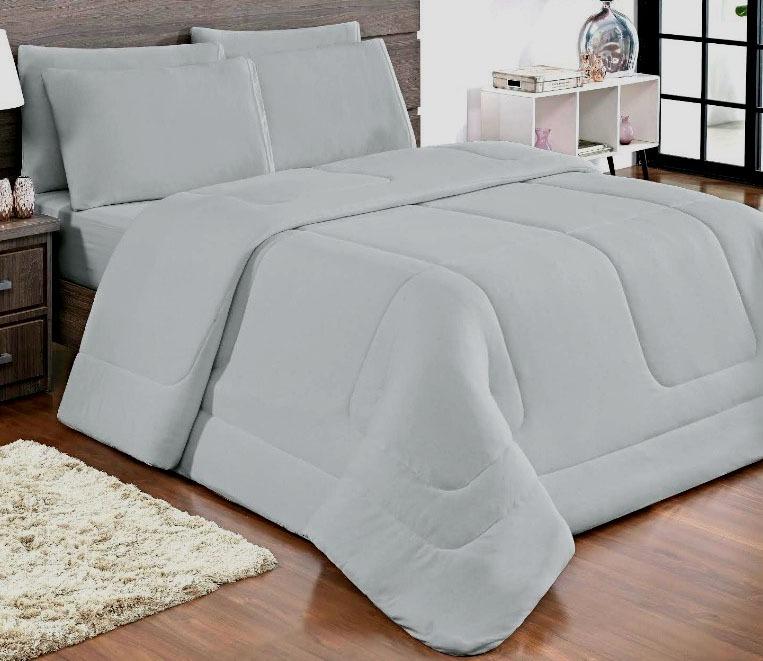 e902bb4b51 Edredom Solteiro Malha 100%algodão Dupla Face Cinza - R  105