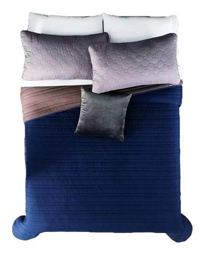 edredón básico queen size humo azul elegante vianney
