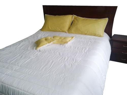 edredón cubrecama juego de alcoba cama doble blanco amarillo