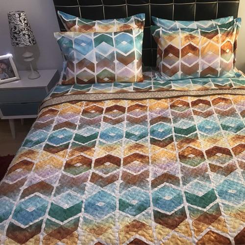 edredón doble estampado tipo quilt multicolor