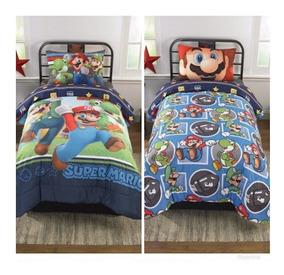 Edredon De Mario Bros.Edredon Doble Reversible Para Ninos Super Mario Brothers