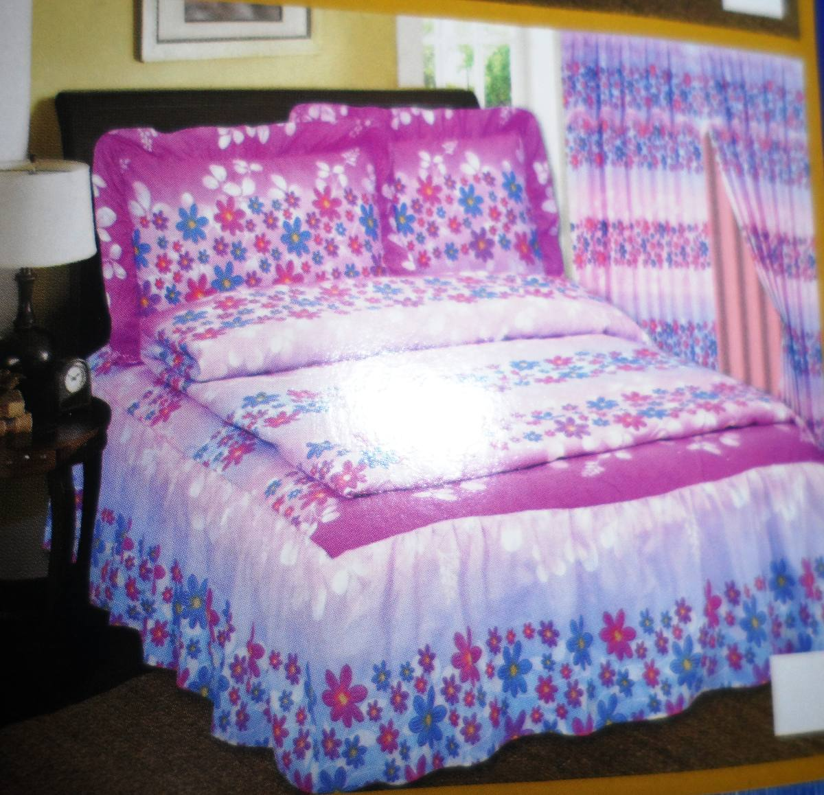 Edredon juegos de sabanas queen cortinas 9 piezas bs for Juego de dormitorio queen