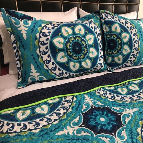 edredon queen estampado tipo quilt flores azul