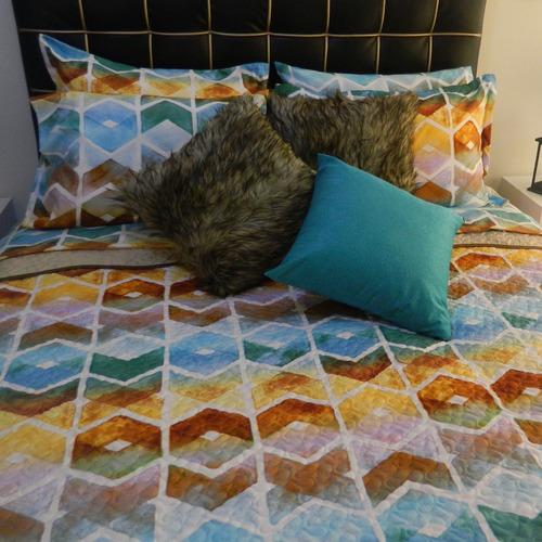 edredón queen estampado tipo quilt multicolor