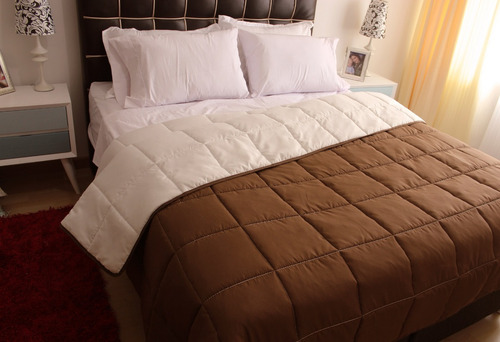 edredon queen tipo quilt doble faz chocolate - beige