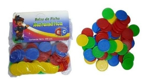 edu-043 ficha matemática colores plástico 100 piezas eduplas