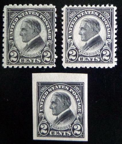 eeuu, lote 3 sellos sc. 610-12 harding 1923 mint l8524