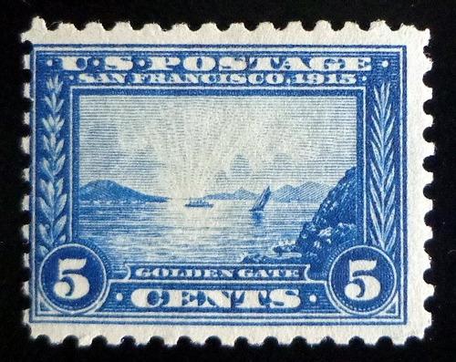 eeuu, sello sc. 399 golden gate 5c. 1913 nuevo l8528