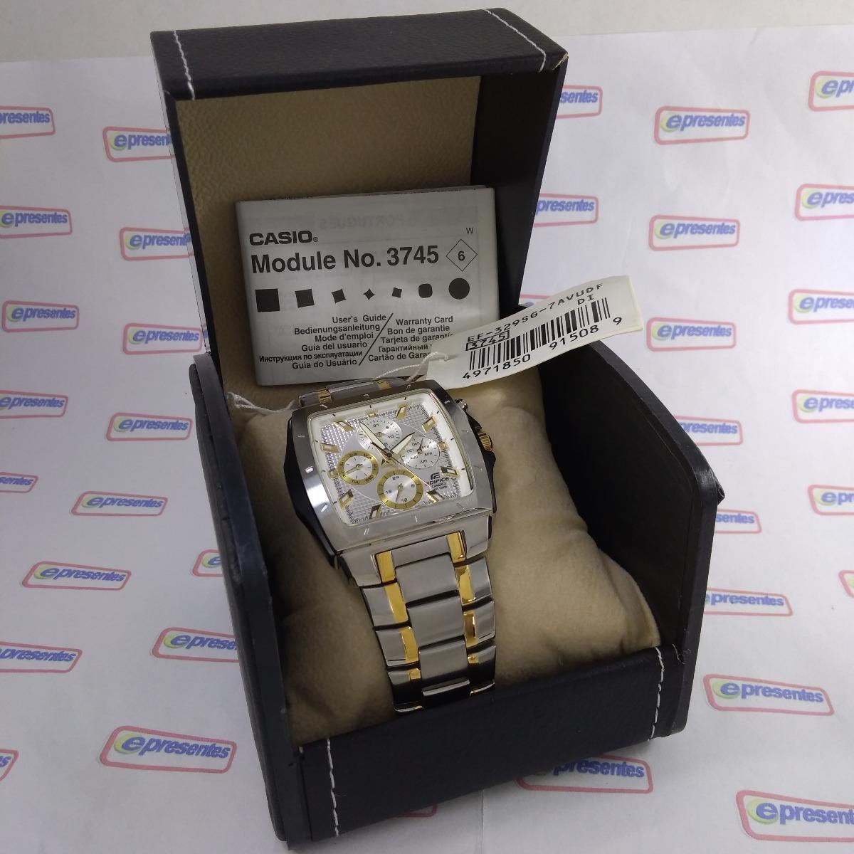a44aa9a203a Ef-329sg-7a Relógio Casio Edifice Quadrado Aço 100% Original - R ...