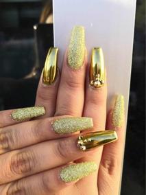 Efecto Espejo Dorado Super Gold Unas Acrilico Gelish