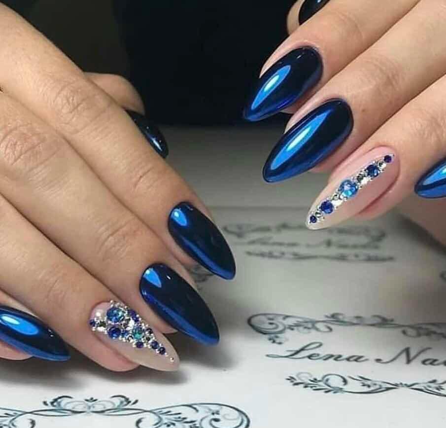 Efecto Mirror Espejo Blue Azul Uñas Acrílico Gelish