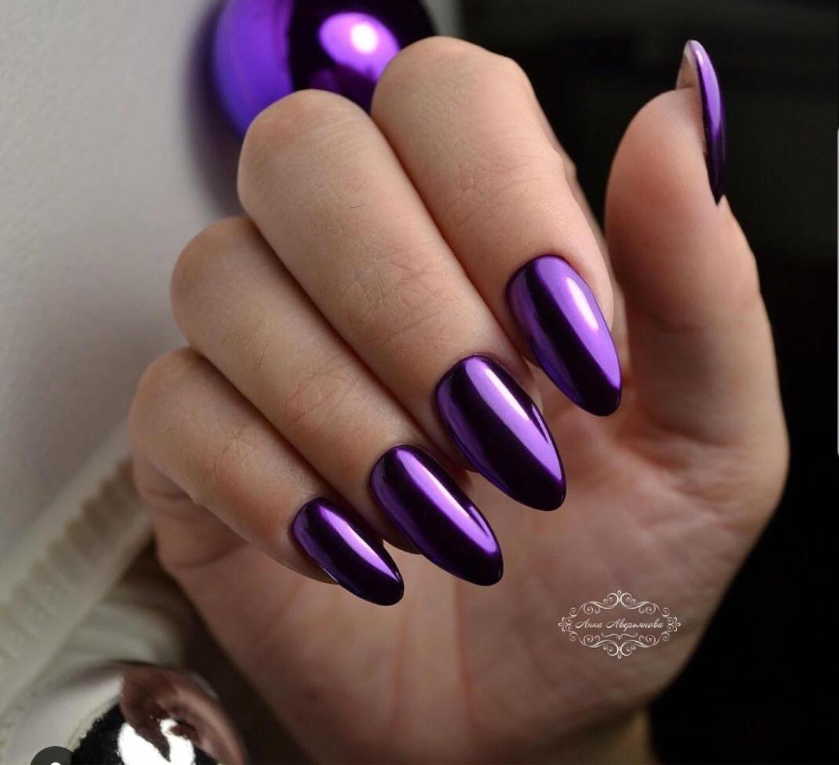 Efecto Mirror Espejo Morado Dark Purple Uñas Acrílico Gelish
