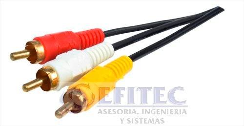 efi-rcaca3m3 cable 3 rca macho a 3 rca macho,3 mts