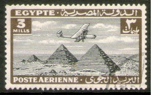 egipto sello aéreo usado avión sobre pirámides x 3m. 1933-38