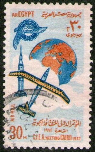 egipto sello aéreo usado espacio = cohete = planeador 1972