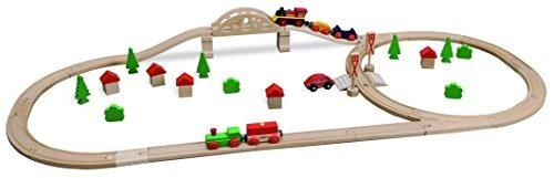 eichhorn wooden bridge y storable wagon train set 55 piezas