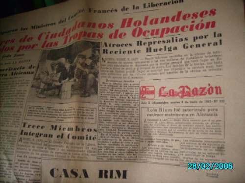ejemplar diario la razon-8 junio 1943- invasion a italia