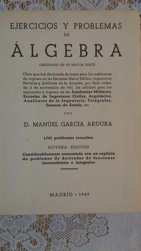 ejercicios y problemas de algebra d. manuel garcia ardura