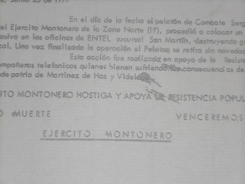 ejército montonero. parte de guerra.1977.entel.
