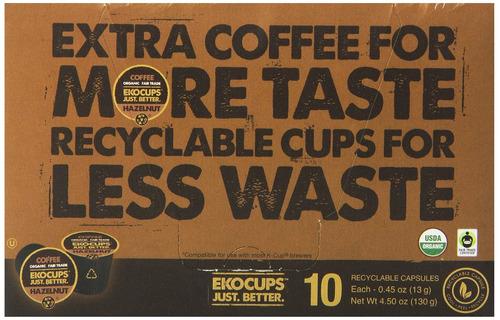ekocups artesanales orgánicos de avellana con sabor a café,