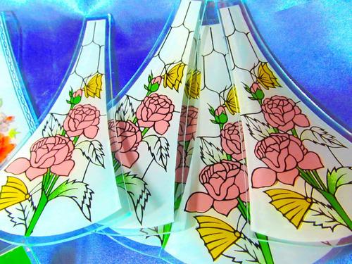 el arcon 14 vidrios curvos estampados para velador 13013