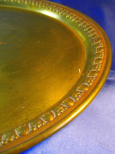 el arcon antigua bandeja de bronce borde labrado 42cm 37051