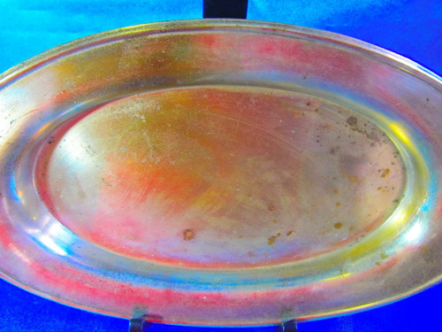 el arcon antigua bandeja oval baño de plata  rodin 25cm 3503