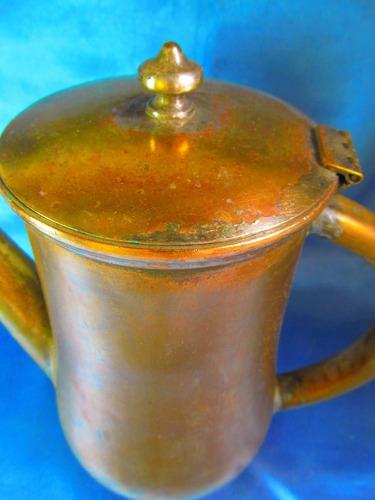 el arcon antigua cafetera de bronce con baño en plata 11500