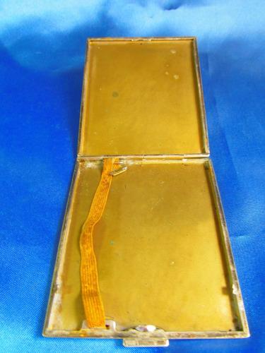 el arcon antigua cigarrera pitillera metal de 10x9 cm 8513