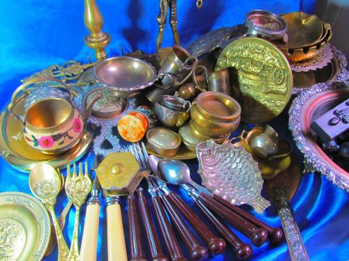 el arcon antigua cuchara bronce labrado 15,7cm 11522