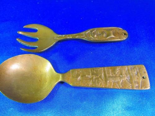 el arcon antigua cuchara y tenedor de bronce 12 cm apr 11517