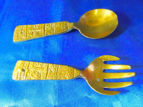 el arcon antigua cuchara y tenedor de bronce 12,3 cm 19067