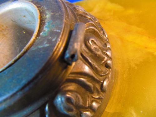 el arcon antigua escribania en marmol onix con tintero 55509