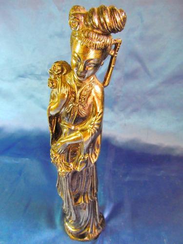 el arcon antigua estatuilla oriental adorno plateado  24067