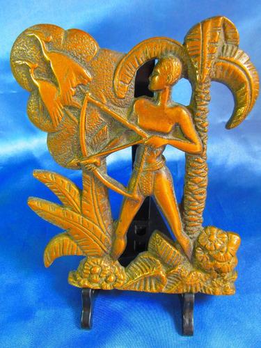 el arcon antigua figura bronce cazador 19 x16 cm  8507