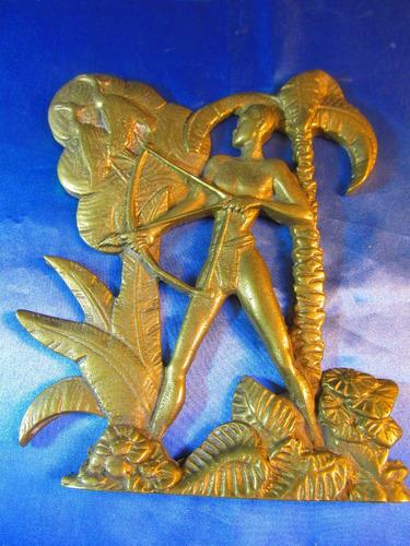 el arcon antigua figura de bronce labrada cazador 19cm 36055