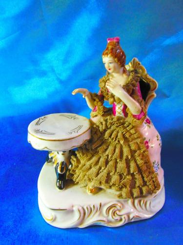 el arcon antigua figura porcelana alemana dama antigua 5112