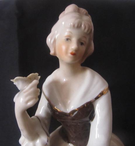 el arcon antigua  figura porcelana dama vintage  20 cm