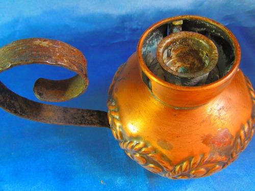 el arcon antigua lampara de aceite cobreada 15057
