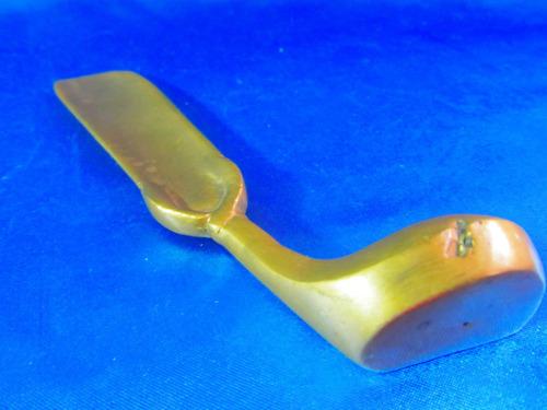 el arcon antiguo calzador de bronce macizo palo de golf 4516