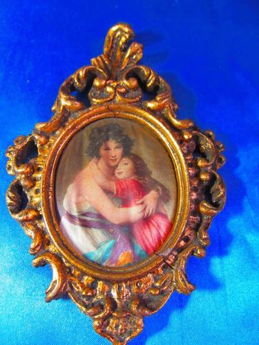 el arcon antiguo camafeo marco dorado a la hoja 7,2cm 17071