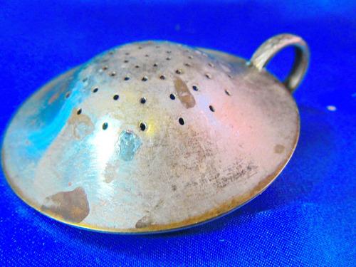 el arcon antiguo colador de te bronce baño de plata 8cm 2509